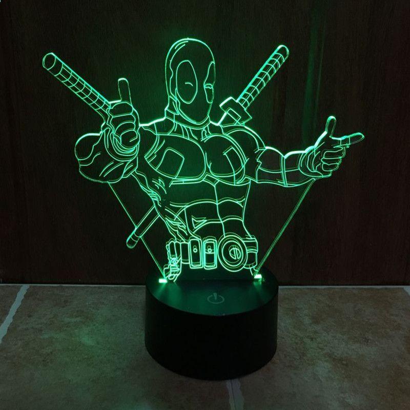Qicsyxj Creative Anime Cadou Superhero 3d Lampa Deadpool Ironman Superman Spiderman Capitan America Model Gra Visual Illusion 3d Led Night Light 3d Night Light