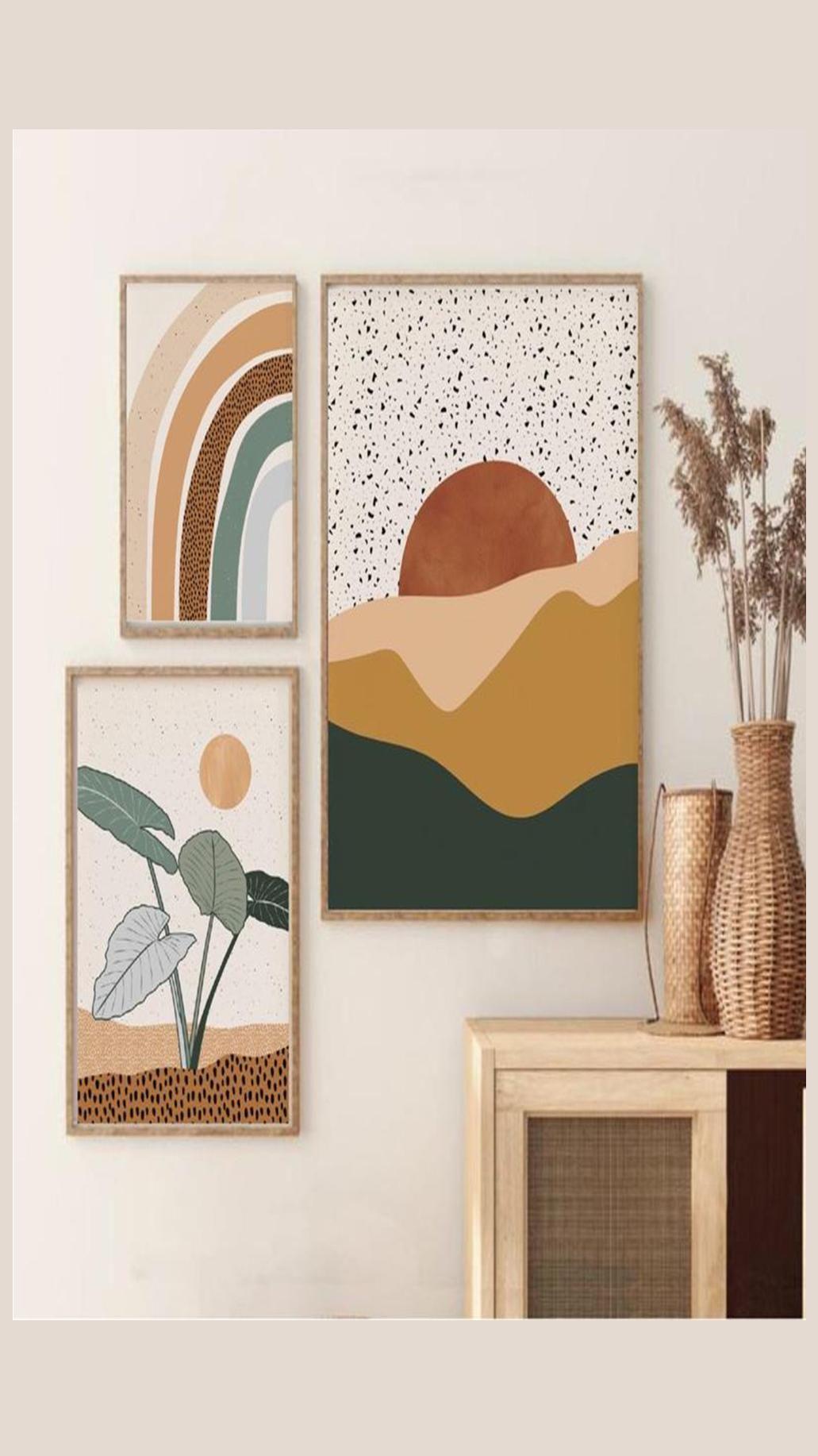 Midcentury Modern Wall Art, Boho Prints, Bedroom Decor Sun Wall Art Moon Decor Modern Wall Art Deco