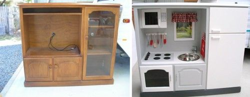 Another Tv Entertainment Center Turned Play Kitchen Hack That Ll Make You Giddy Offbeat Families