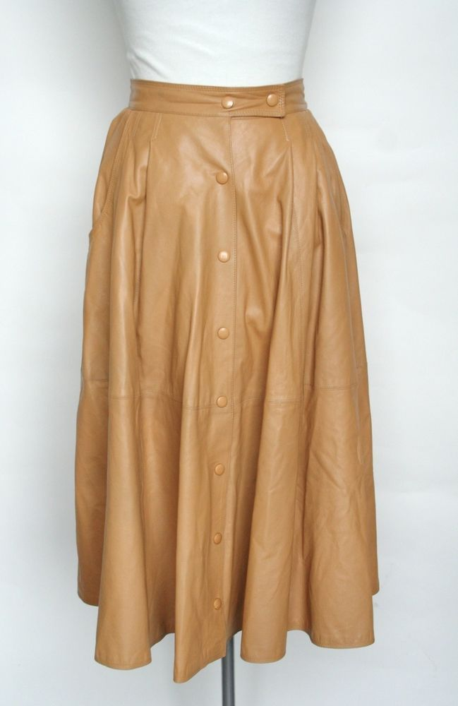 860d996bfeda8b Vintage 1980s Flared Leather Skirt - 1980s - Caramel Brown - Simpathy - UK 6