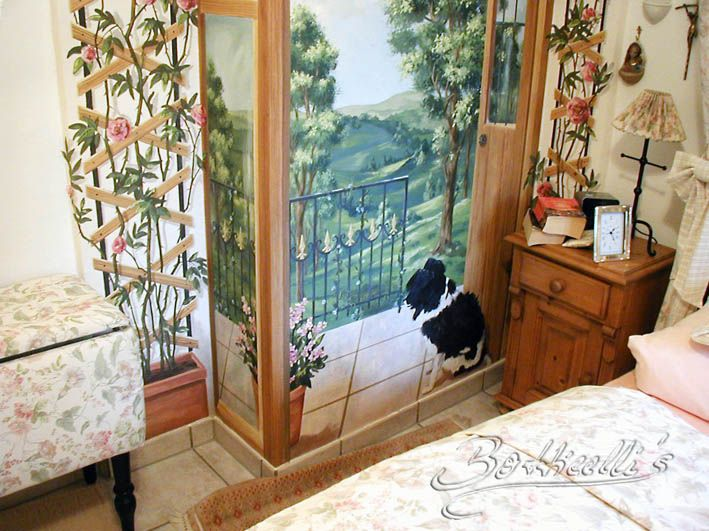 Das Wandbild für dieses kleine Schlafzimmer war im Entwurf eine