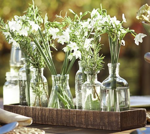 Wood Trough with Bud Vases Pottery Barn - ideally for the dinning