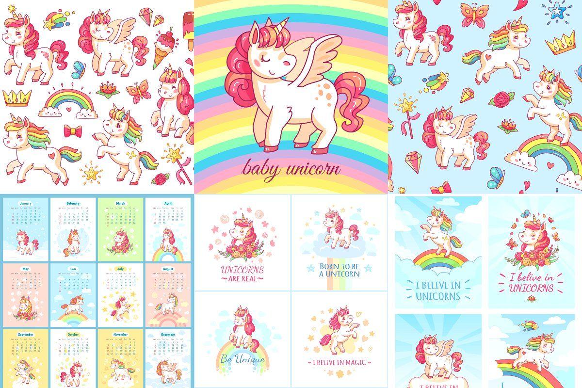 Cute cartoon unicorns vector set cartoon unicorn