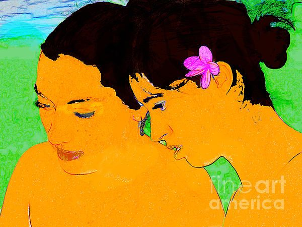 Portrait of two Hawaiian girls digitally manipulated to look like a painting by Gauguin. Click image to buy prints.