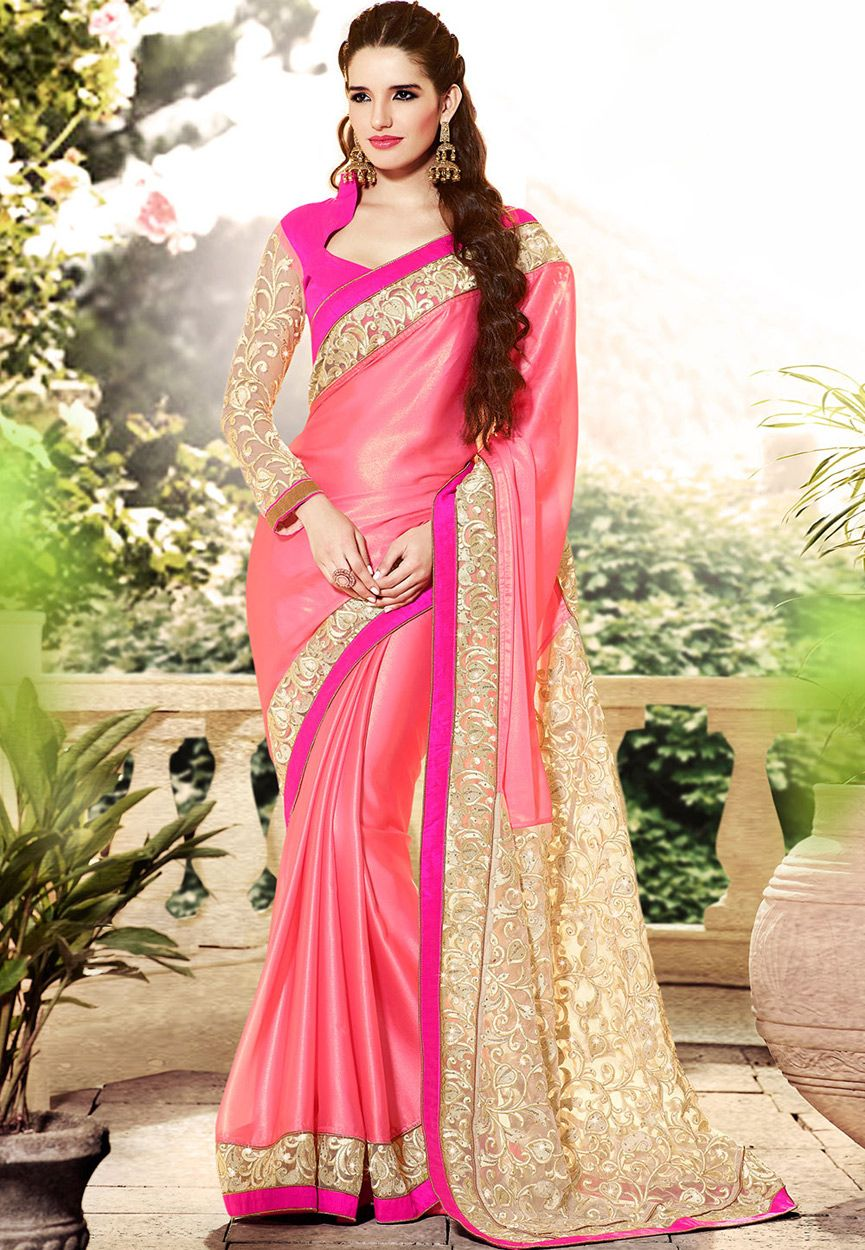 Old Rose Faux Georgette Saree with Readymade Blouse: SUF4761 ...