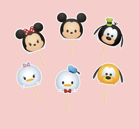 Tsum Tsum Mickey Mouse and Friends Cupcake Toppers Birthday Mickey