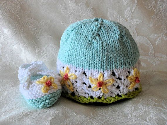 Baby Hat Knitting Knit Baby Hat Baby Hat with Flowers Knit Baby Hat baby girl clothing Cotton Knitted Baby Hat Knitted Lace Baby Hat Daisies