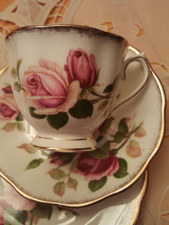 "RARE Vintage Royal Albert ""Anniversary Rose"" pattern trio, Made in England…"