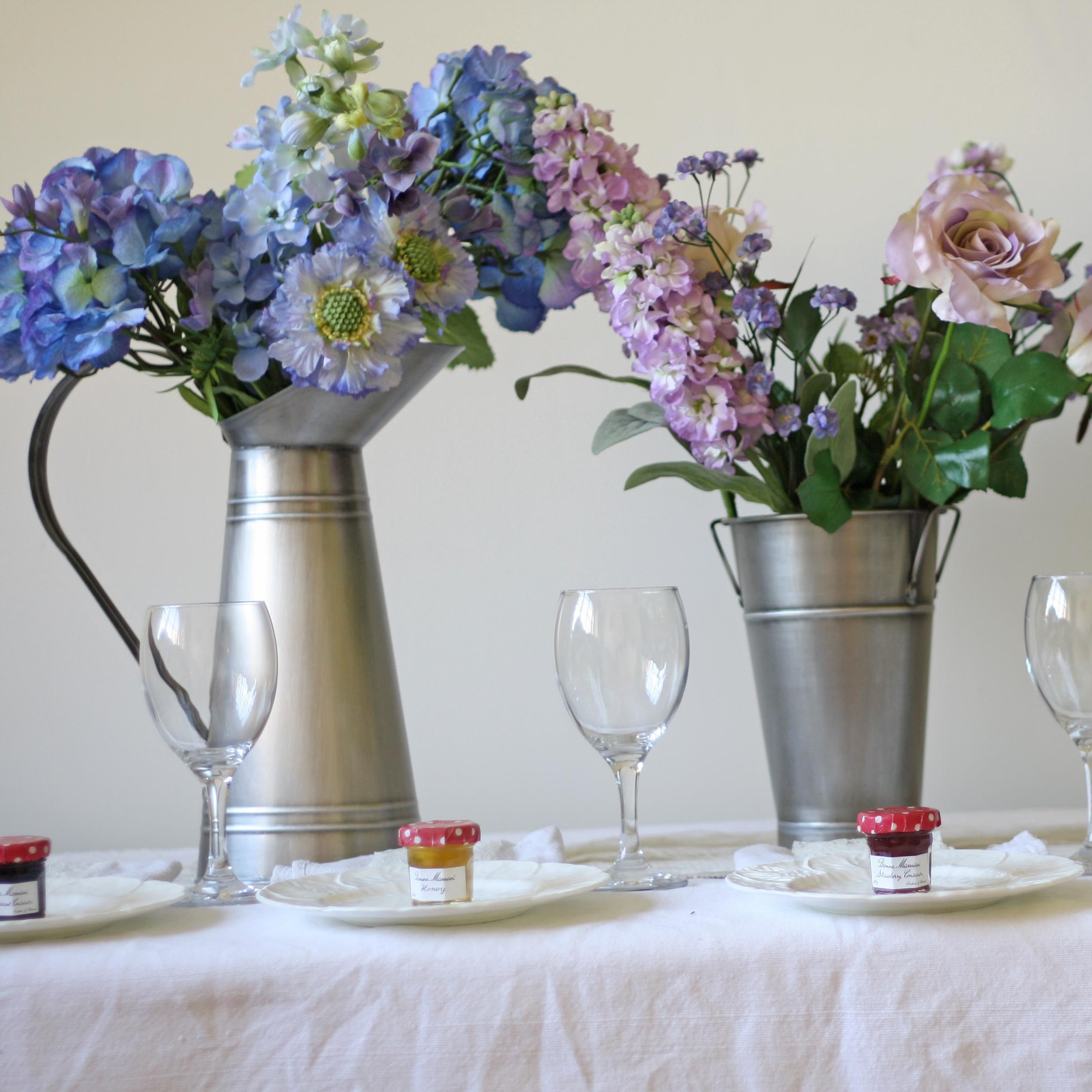 Galvanised Silver Jug and Bucket wedding table decoration | Bucket ...