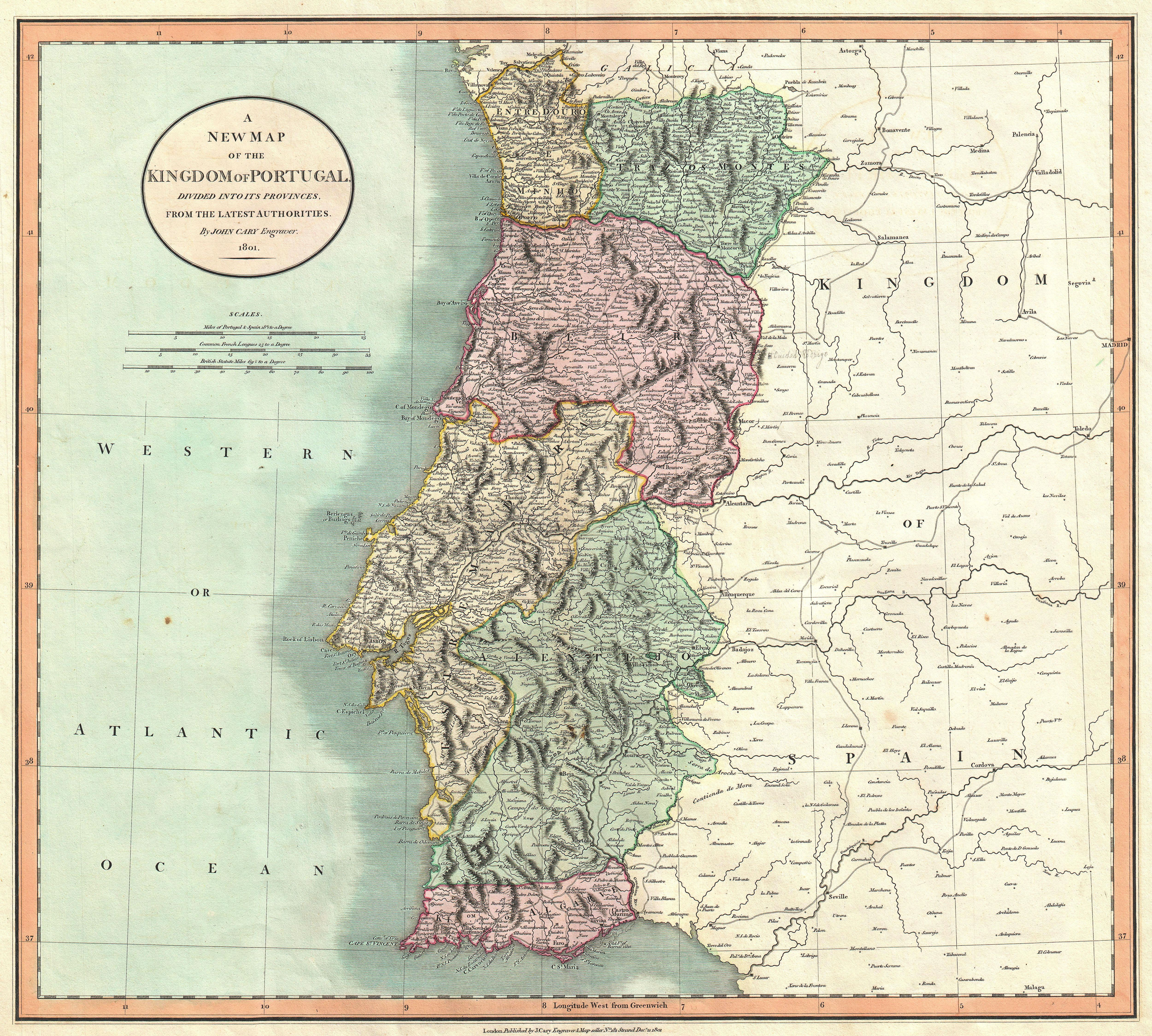 A New Map Of The Kingdom Of Portugal Divided Into Its Provinces - Portugal geology map