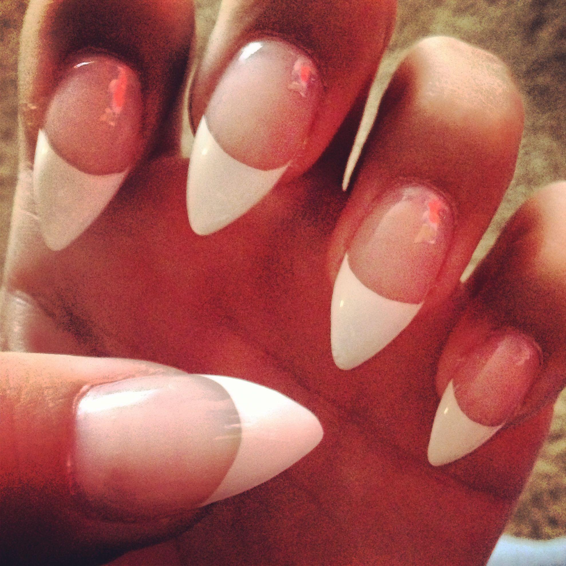 French tip stiletto nail   beauty   Pinterest   Stilettos, Makeup ...