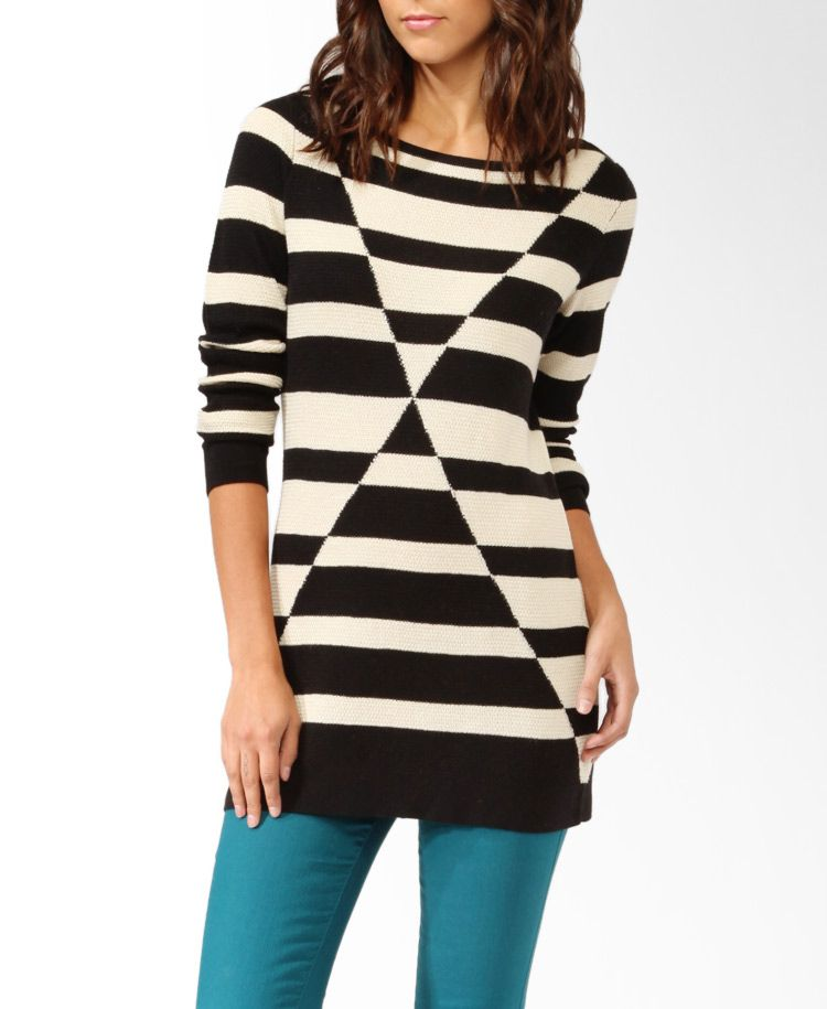 Contrast Geo Sweater Tunic | FOREVER21 - 2000048237