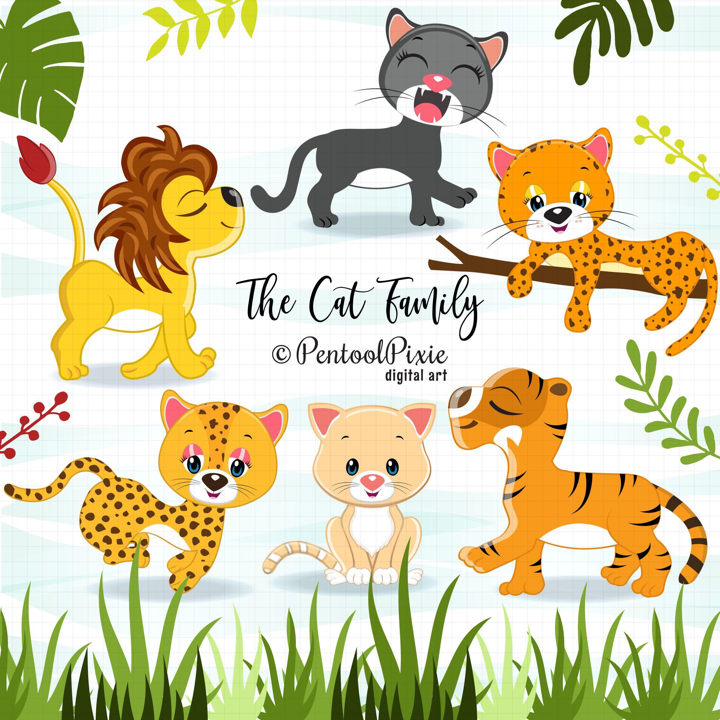 Cat Family Clipart Wild Cats Jungle Animal Clipart Lion Etsy Animal Clipart Cat Family Jungle Animals