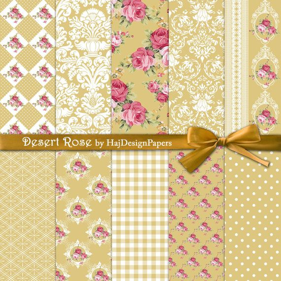 Desert Rose - Instant Download, Digital scrapbook paper, gold paper, shabby chic digital paper, decoupage paper, roses, watercolor