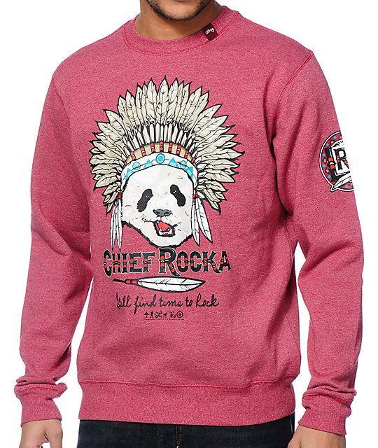 LRG Chief Rocka Red Crew Neck Sweatshirt | Crew neck sweatshirt