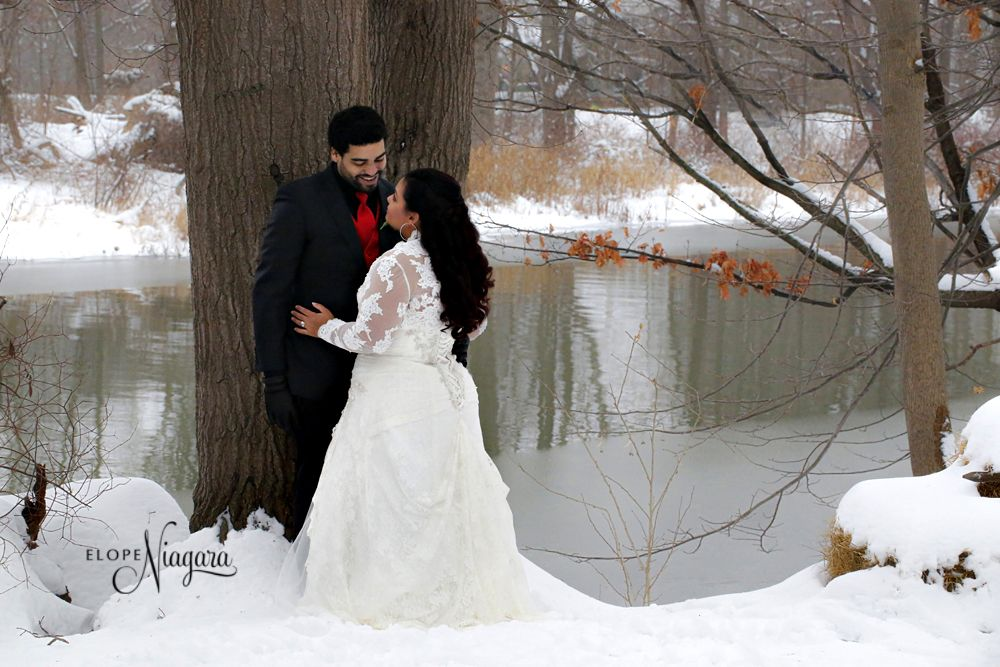 Winter wedding at The Little Log Wedding Chapel in Niagara. Private, intimate ceremonies and private outdoor photography studio