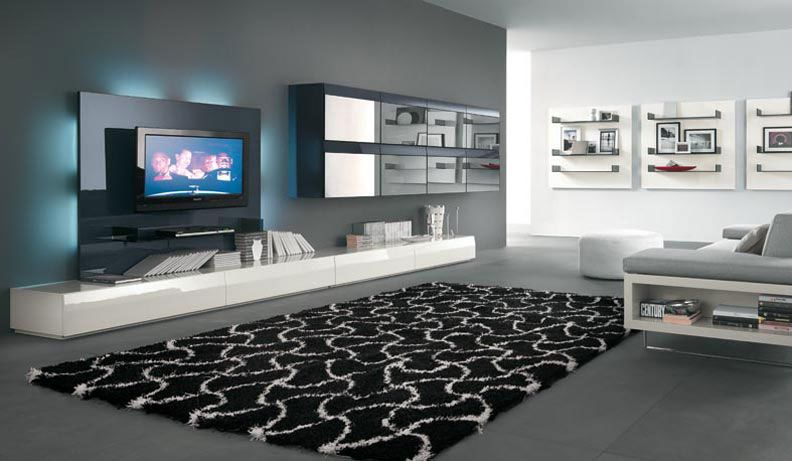 Innovative Alf Da Fre Modern Living Room Features Futuristic Dark Glass Black Tv Wall Unit With Glossy White Low Console And Mirrored Front