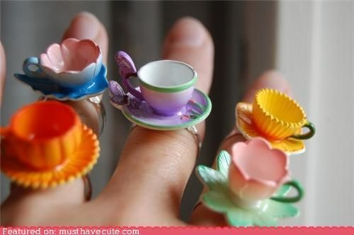 Would you like to wear your tea cup?  These rings are adorable!