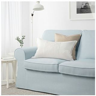 Ikea Ektorp Sofa In Nordvalla Light Blue And I Want That White Pillow Ektorp Sofa Ikea Ektorp Sofa Cushions Ikea