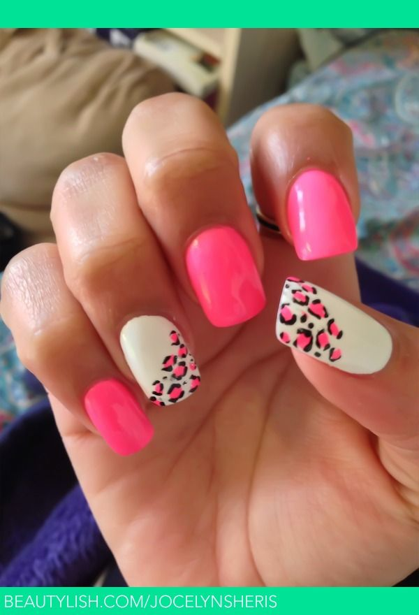 Hot Pink And White With Leopard Print Ongles Ongle Carre Idees Manucure