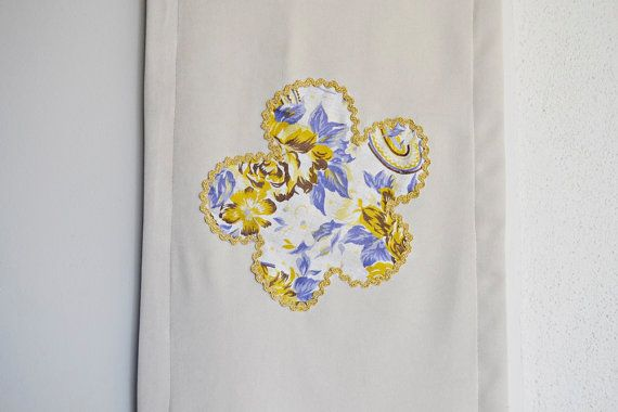 Cream Table Runner with Floral Applique by BizimFlowers on Etsy