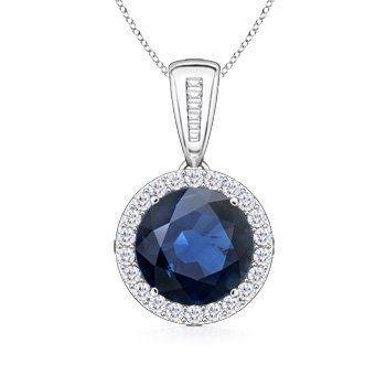 Angara Round Sapphire Diamond Pendant for Women in Yellow Gold snxLkhznZ