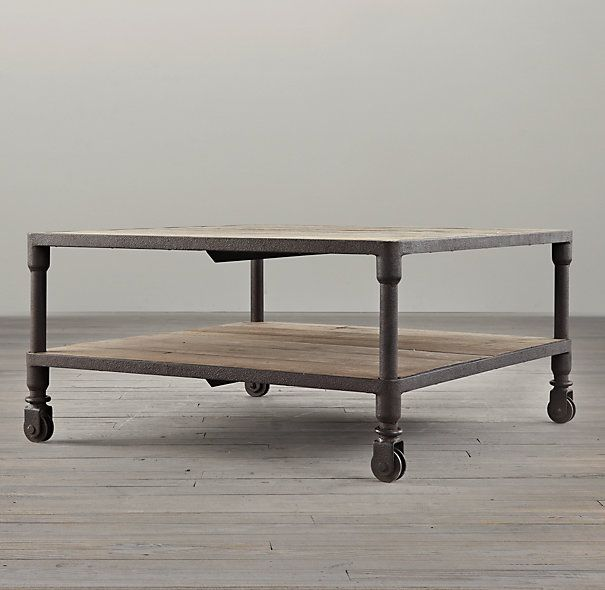 RHu0027s Dutch Industrial Square Coffee Table:Our Distressed Table Pairs The  Warmth Of Aged Elm With Warm, Aged Metal Frames For An Industrial,  Imperfect Look.