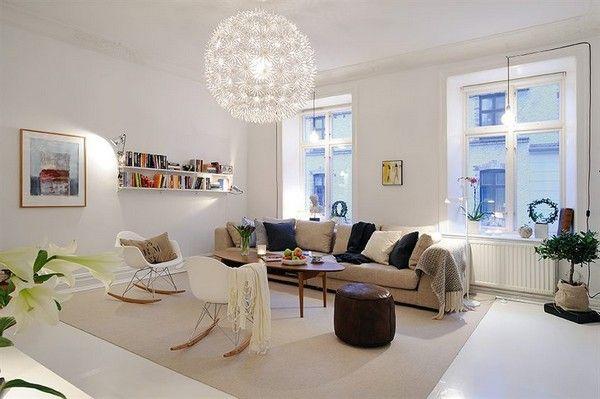 Skandinavische Wohnzimmer-Designs mit einem hypnotisierendem Effekt - Wohnzimmer Braunes Sofa