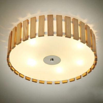 incredible wood flush mount light drum shaded wood battens designer