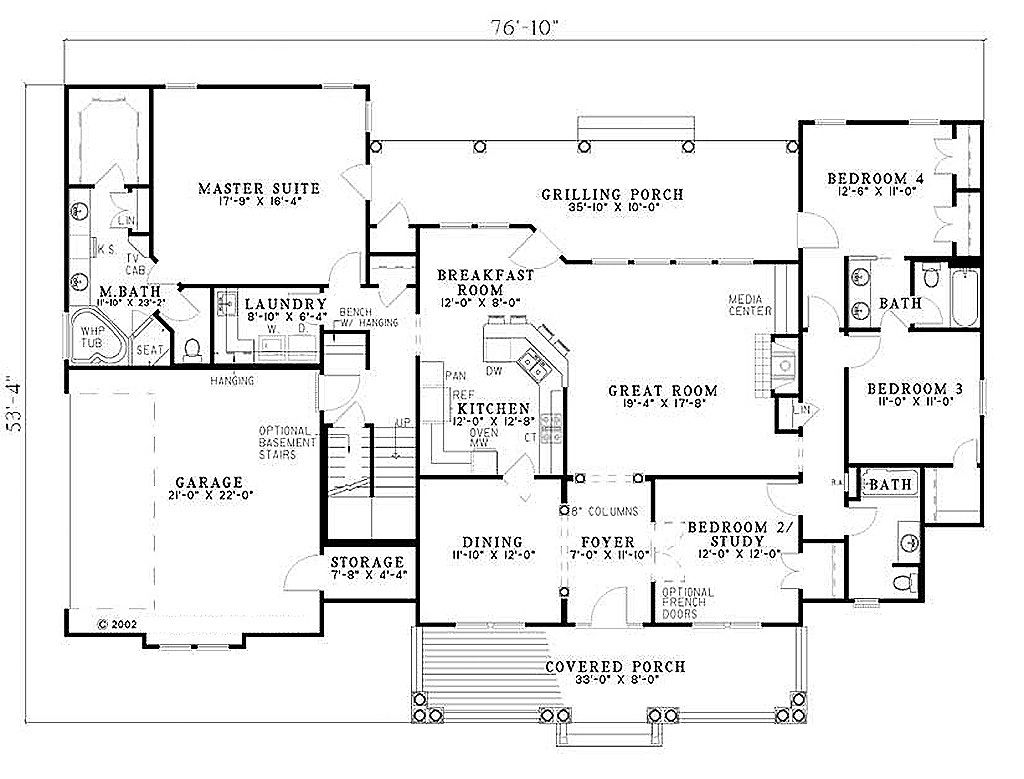 southern style house plan 4 beds 3 baths 2373 sq ft plan 17