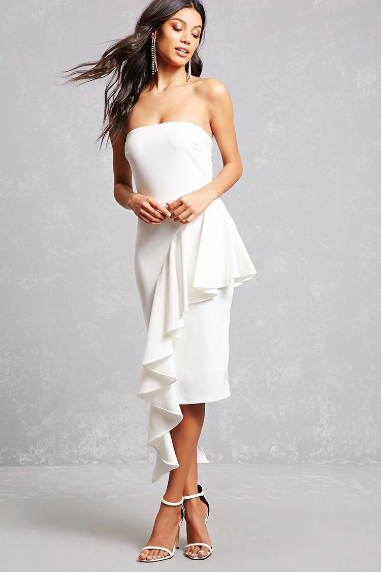 A Woven Strapless Dress Featuring An Asymmetrical Ruffled Layer And A Concealed Side Zipper P This Is An Ind Forever 21 Cocktail Dress Braided Dress Dresses [ 1125 x 750 Pixel ]