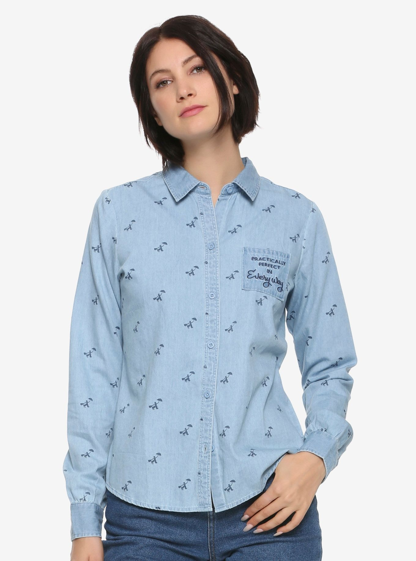 16a4930cf5 Her Universe Disney Mary Poppins Perfect Womens Woven Button-Up ...