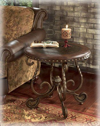 Accent Tables Ashley Rafferty Round End Table Tables Traditional - Ashley rafferty coffee table