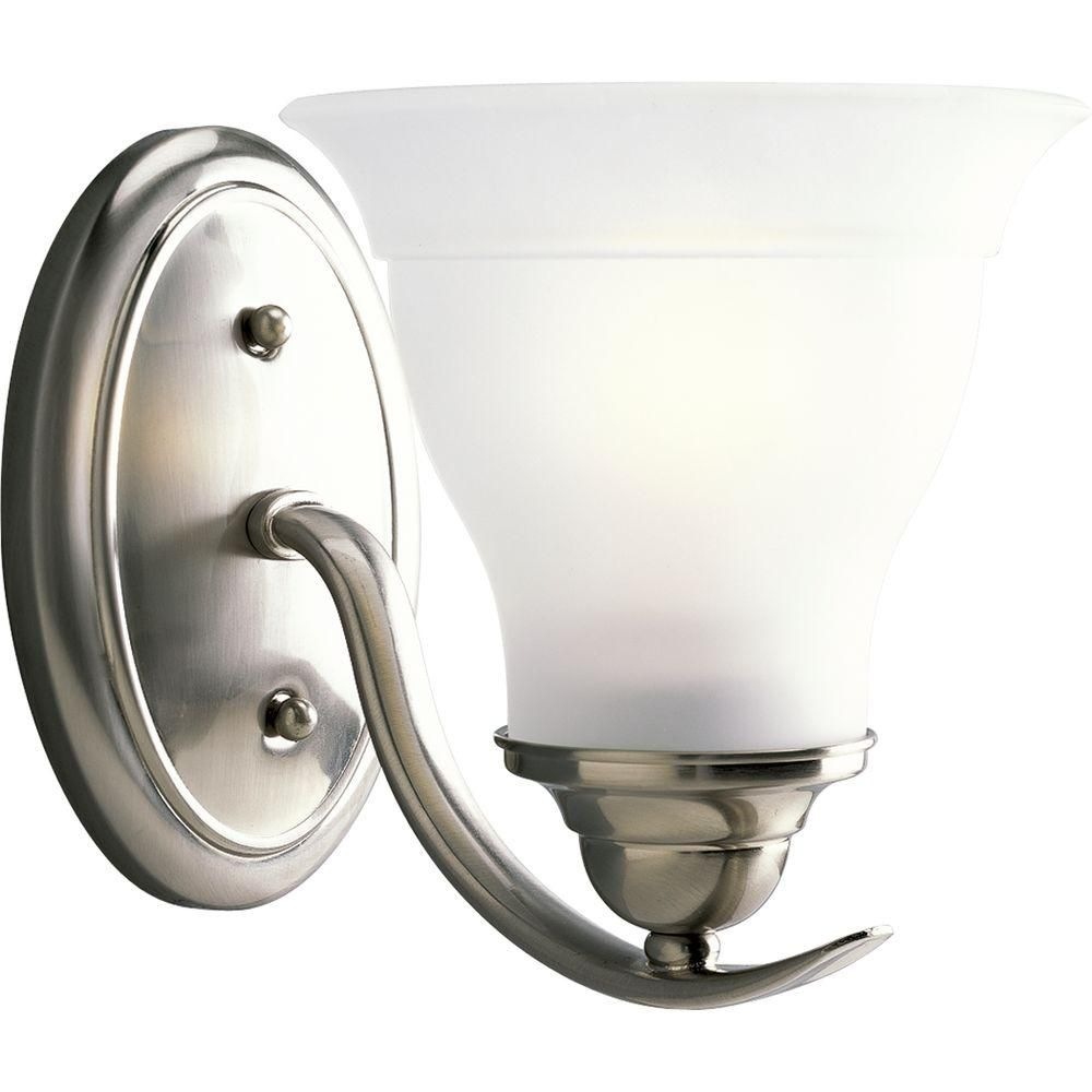 Progress Lighting Trinity Collection 1 Light Brushed Nickel Bath Sconce  With Etched Glass Shade