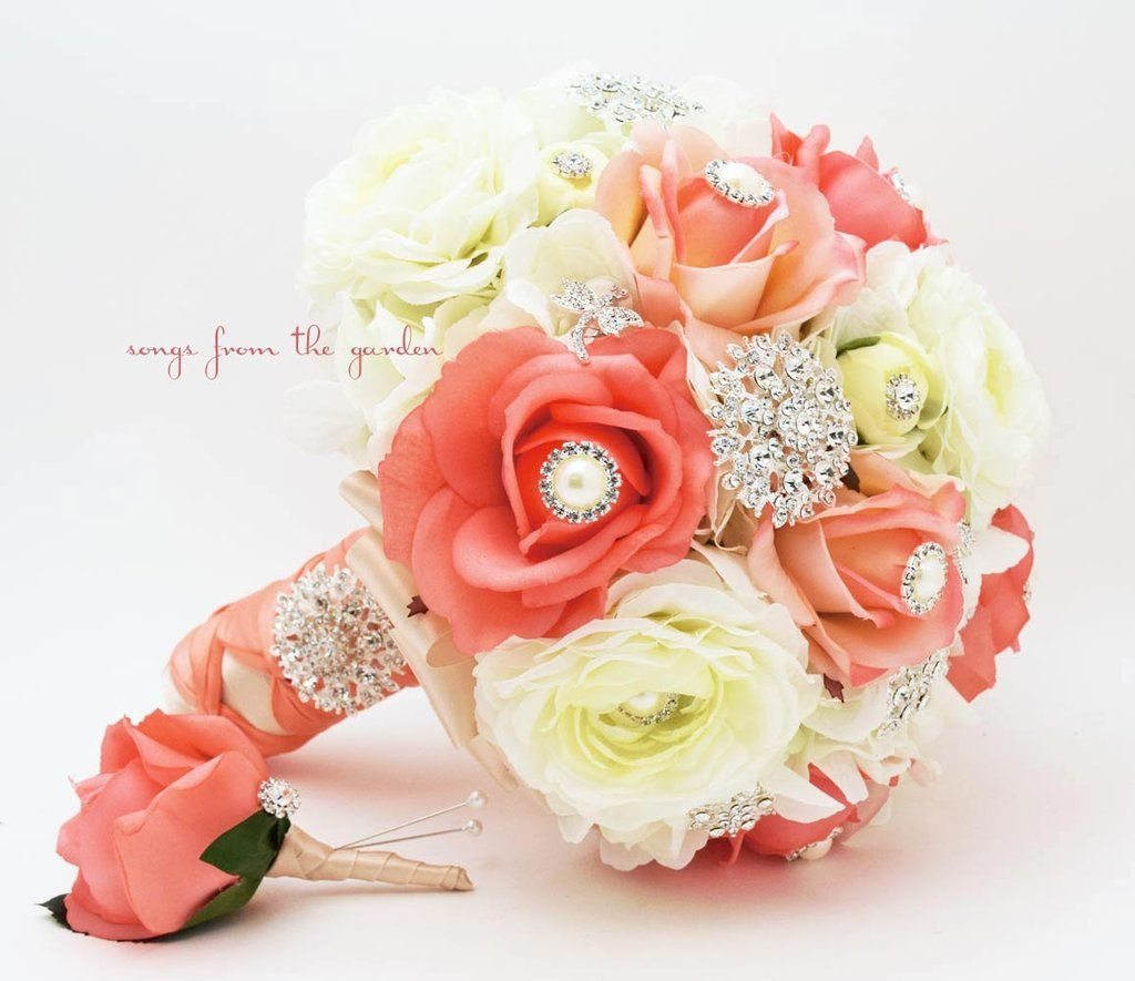 Coral White Brooches Blooms Brooch Bridal Bouquet Groom
