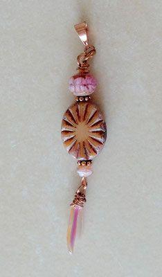 Kupfer-Anhänger, Schmuck, böhmische Picasso Perle, Czech beads ...