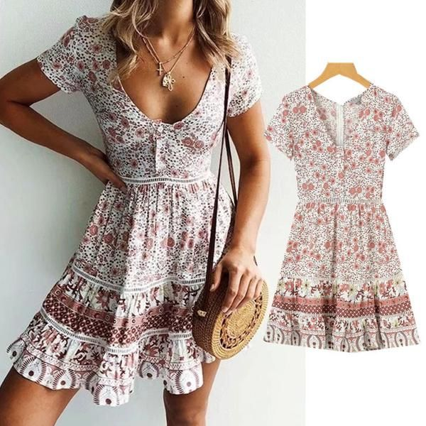 A-Line Bohemian Floral Dress Sexy V-neck Short Sleeve Mini Dress 12