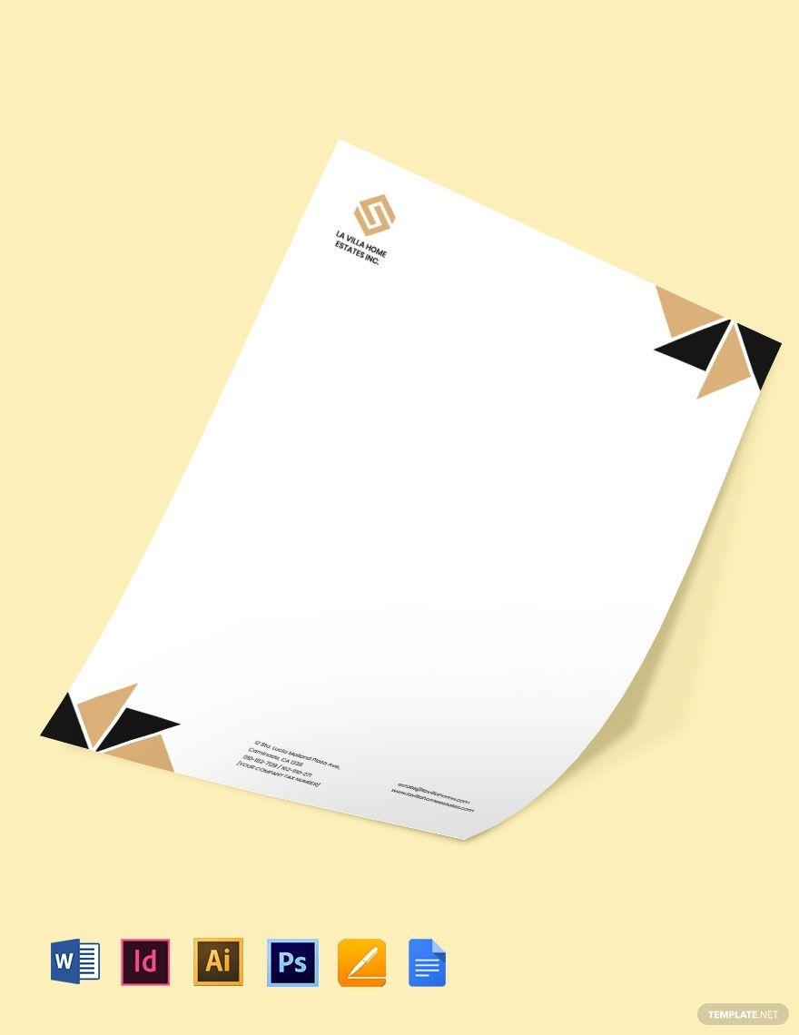 Luxury Real Estate Letterhead Template Free Jpg Google Docs Word Template Net Letterhead Template Business Cards Creative Letterhead Business Real estate letterhead templates free