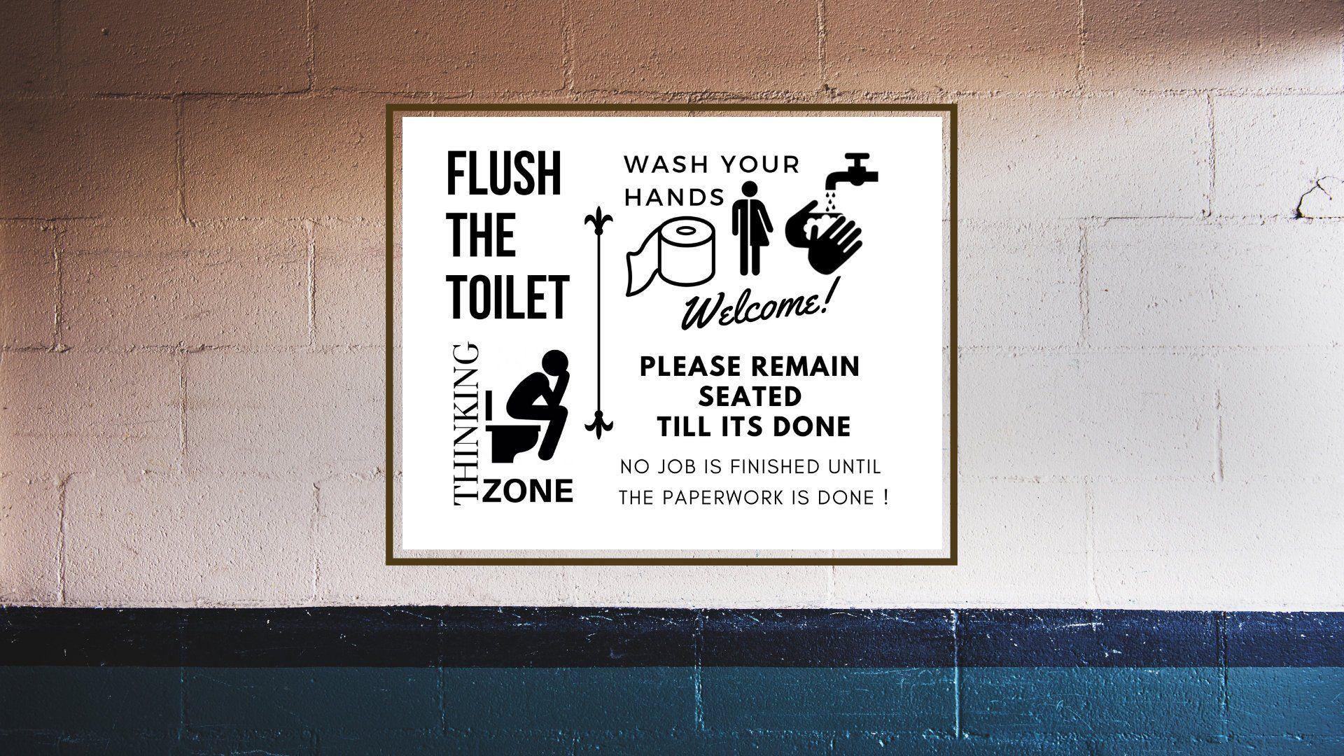 Flush The Toilet Sign Landscape Wash Your Hands Welcome Toilet Rules Toilet Sign Toilet Print Toilet Humor Toile Toilet Rules Toilet Sign Toilet Humor