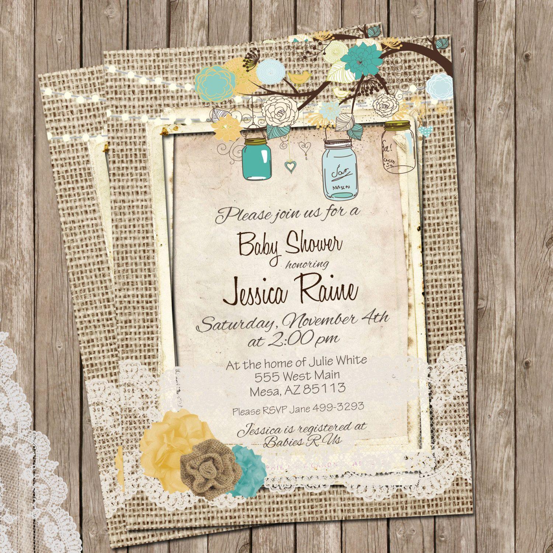 Burlap and Lace, Rustic Baby Shower Invitation, Invite, Mason jar ...