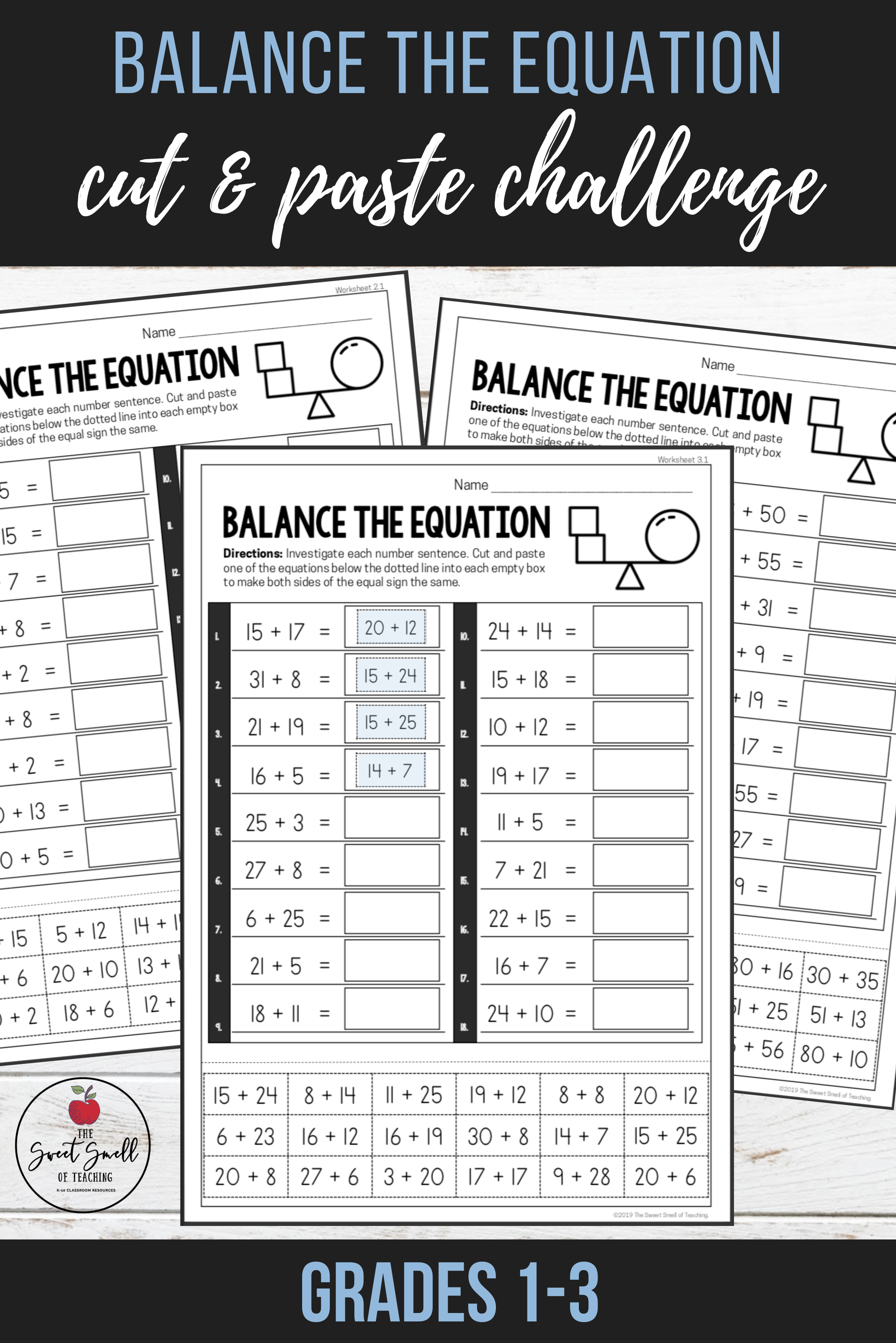 Balance The Equation Challenge Differentiated Worksheets Grades 1 3 Elementary Math Teaching Math Math Resources [ 3672 x 2450 Pixel ]