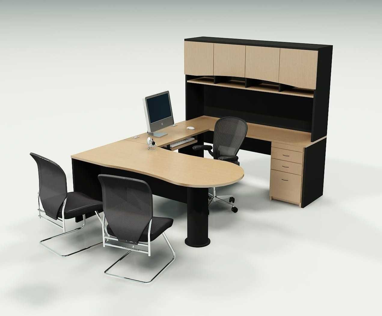 Wonderful U Shaped Beige and Black Wood Office Table Desks Furniture Design Ideas for Home with Flat Top Surface that have Countertop Decorating also Great Side Space Desk Cabinet also Elegant Black Chair Furniture