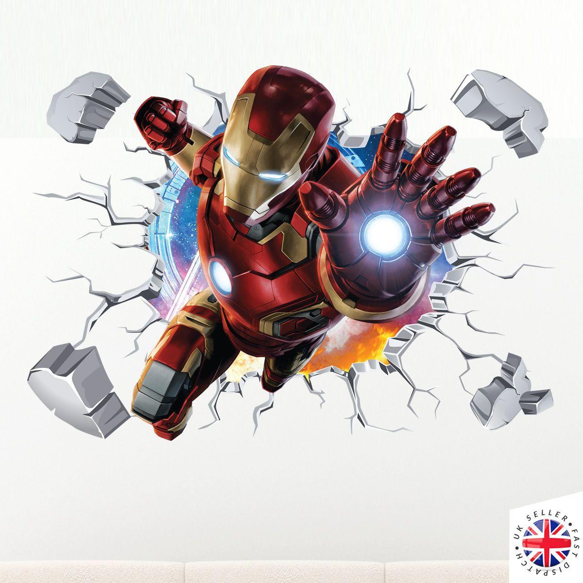9 95 gbp 3d ironman wall sticker vinyl art home bedroom on wall stickers 3d id=28775