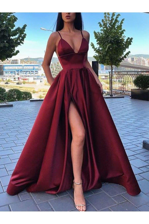 SR1035,A-line V-neck Prom Dresses,Spaghetti Straps