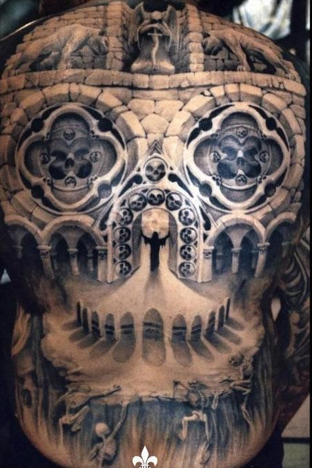 intense full back tattoo cathedral tattoo tattoos pinterest tattoo tatting and body art. Black Bedroom Furniture Sets. Home Design Ideas
