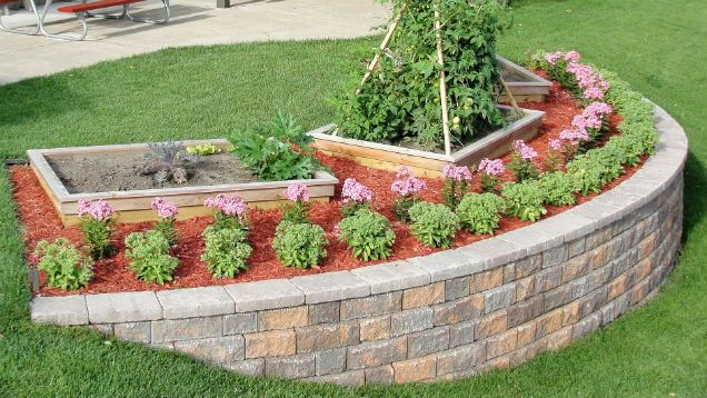 Build A Block Retaining Wall To Beautify A Steep Slope Small Vegetable Gardens Landscaping Retaining Walls Vegetable Garden Design