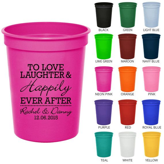 16 Oz Custom Wedding Cups Clipart Love Laughter Hily Ever After Favors Personalized Plastic Stadium