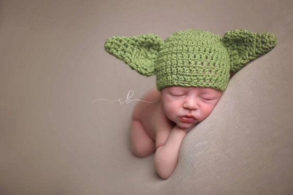 Recién nacido gorro de Yoda apoyos de la foto Crochet el   julieta ...