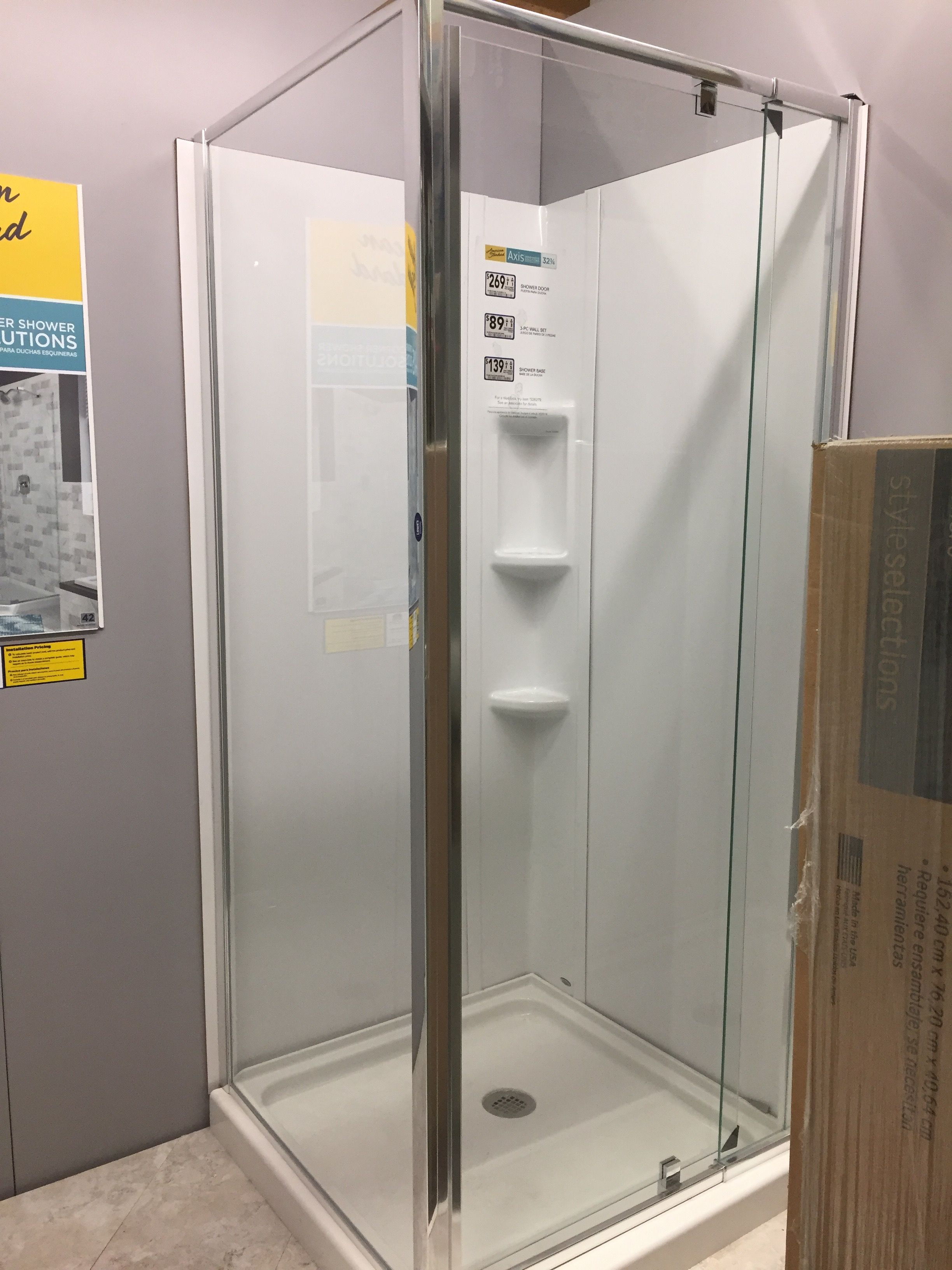 Square corner shower kit; enlarge photo to see dimensions and prices ...