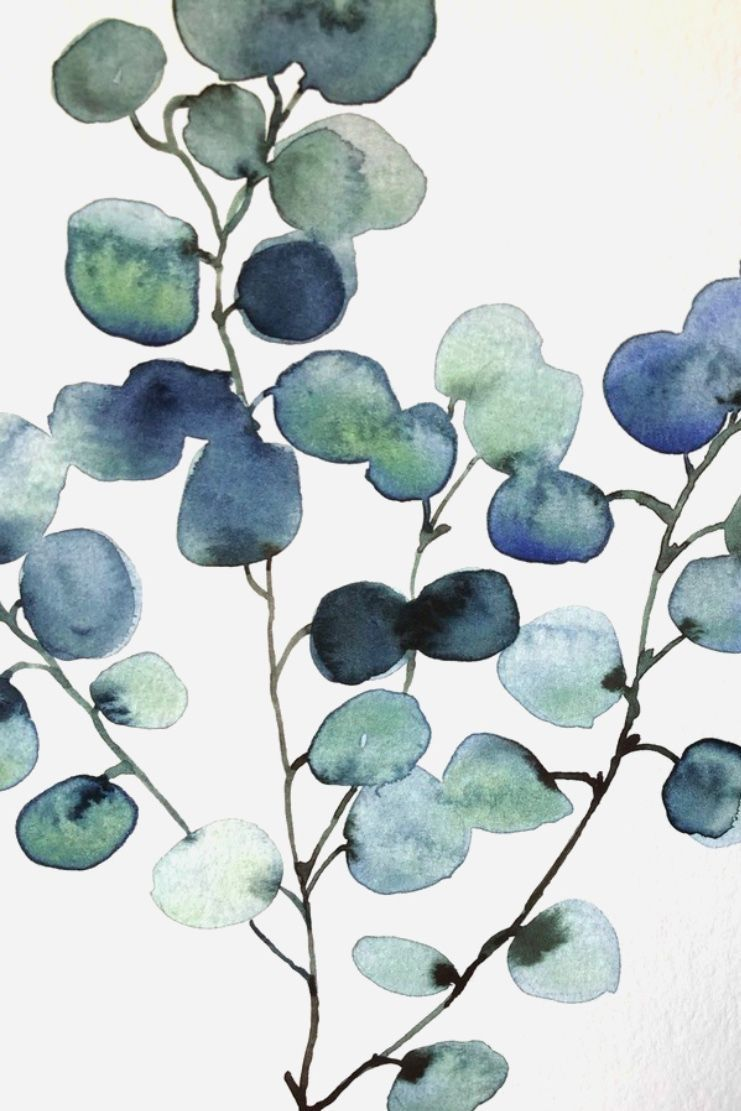 Aquarelle Dollars Eucalyptus Leaubleue Loose Painting Silver